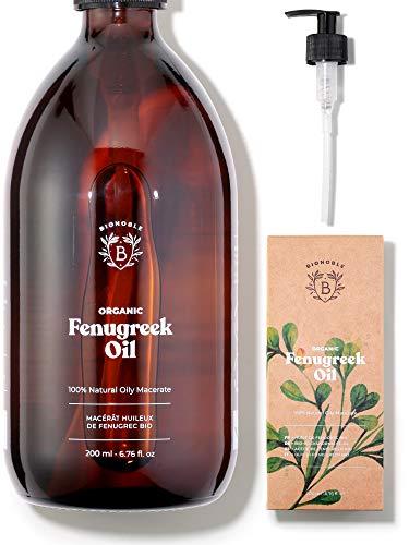 ACEITE DE FENOGRECO ORGÁNICO | Aceite Macerado de Semillas de Fenogreco y Aceite de Girasol | Cuerpo, Pecho, Glúteos, Cabello, Uñas | Vegano y Cruelty Free | Botella de vidrio + Bomba (200ml)