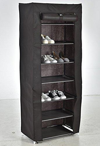 Ruimtebesparende schoenenkast schoenenrek van waterbestendig textiel met 7 schoenenrekken voor 21 paar schoenen stoffen schoenenkast afmetingen 50 x 28 x 107 cm 7 Regalböden