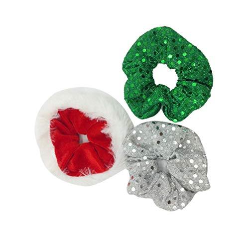 BinaryABC Christmas Hair Bands Hair Ties Ropes,Christmas Hair Accessories,Christmas Decorations Party Supplies,3Pcs