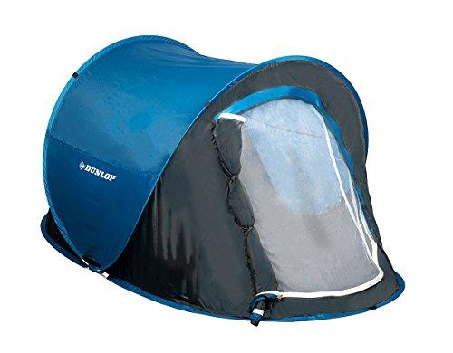 Pop-Up Camping Zelt von Dunlop für eine Person, einwandig, selbstaufbauend, Moskitoschutz, Wassersäule 400 mm, blau