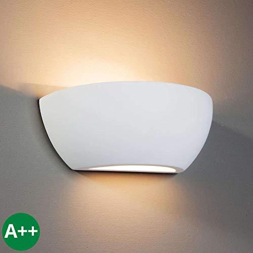Lindby Gips Wandlampe weiß, bemalbar| indirektes Licht | Wandleuchte Gips 1 flammig für Wohnzimmer, Esszimmer, Küche, Flur | Gipsleuchte Wand innen | IP20