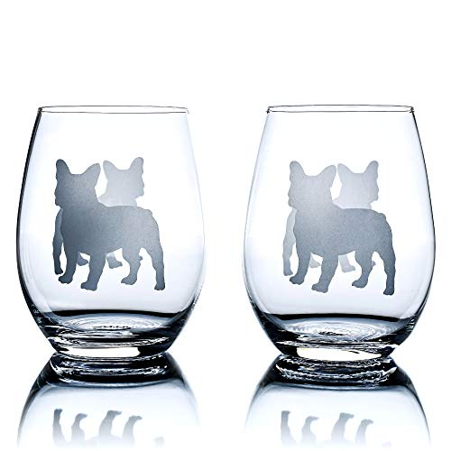 French Bulldog Wine Glasses (Set of 2) | Unique for Dog Lovers | Hand Etched with Breed Name on Bottom