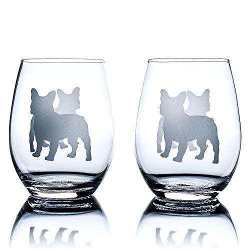Greenline Goods Bicchieri da Vino Bulldog Francese (Set di 2) |Unico per Gli Amanti dei Cani |Inciso a Mano con Il Nome della Razza sul Fondo