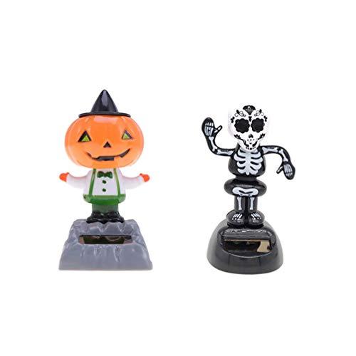 Amosfun 2 Piezas de Halloween Bobble Car Dashboard Toys Calabaza Calavera Bailando muñeca con energía Solar Juguetes oscilantes para decoración de Fiesta de Halloween Ornamento