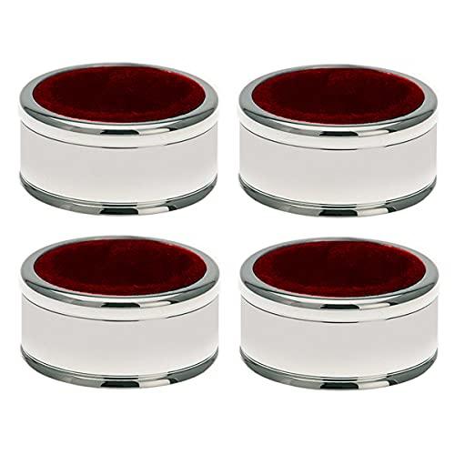 Juego de 4 anillos para gotas, diseño de hilo bañado en plata, listo para regalar con elegante paquete de regalo