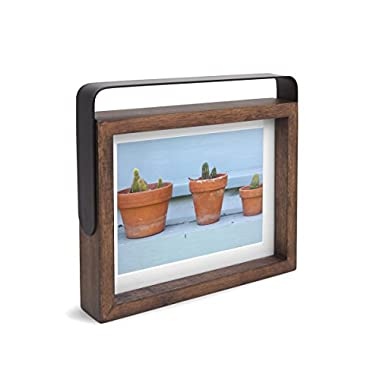 Umbra Axis 5 x 7 Photo Frame, Pivoting Metal Handle and Aged Walnut Frame