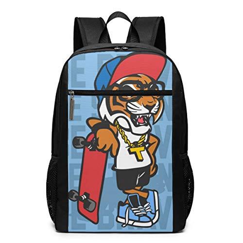 GgDupp Tiger Skateboard Schulranzen Reiserucksack 17 Zoll Laptop Tasche, Polyester, Schwarz, Einheitsgröße