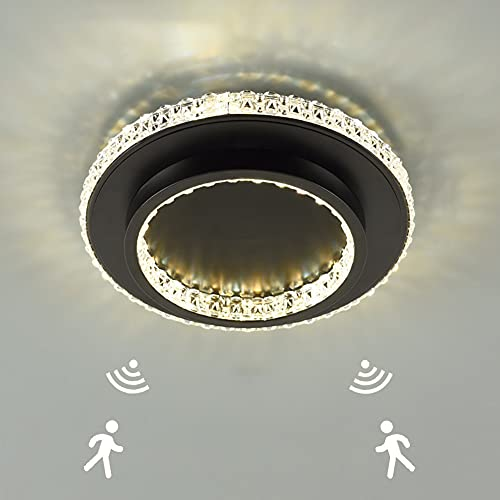 24W Lámparas de Techo de Circular Moderna con Detector de Movimiento Plafón LED Metal de Techo con Sensor Crepuscular para Pasillo baño sótano garaje escaleras balcones, Blanco frio 6000K