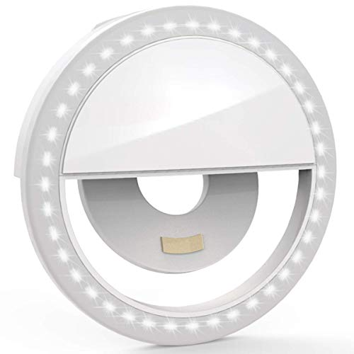 Selfie Ring Light with Clip [ USB Rechargeable Battery] Portable Flash 36 LEDs Photography Ring Light 3-Level Brightness Adjustable Video Selfie Lights Clip for iPhone, Smart Phones, Pads (White)