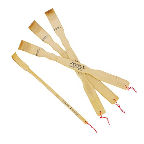 BambooMN Brand 4 Piece - 3 Piece 17' Traditional Bamboo Back Scratchers + Free Travel Size Backscratcher for Itching Relief, Strong and Sturdy