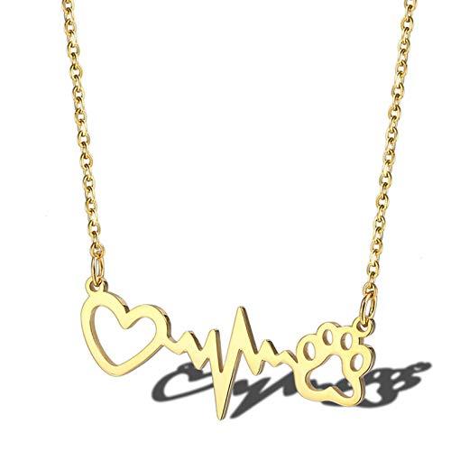 AnazoZ Collar Mujer Acero Inoxidable Colgantes Mujer Electrocardiograma Huella de Perro Corazón Hueco Colgantes para Mujer Plata/Oro/Oro Rosa