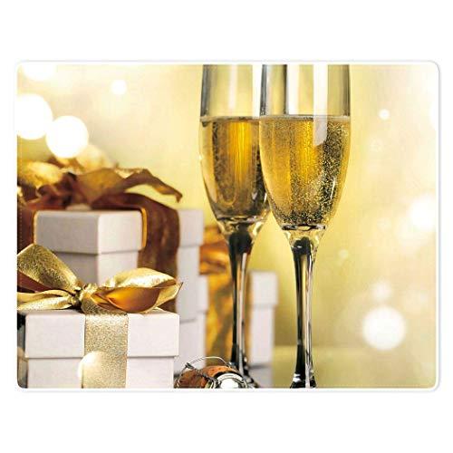 Manta de felpa cálida y suave y acogedora de 152,4 x 127 cm, caja de regalo de copa de vino dorada