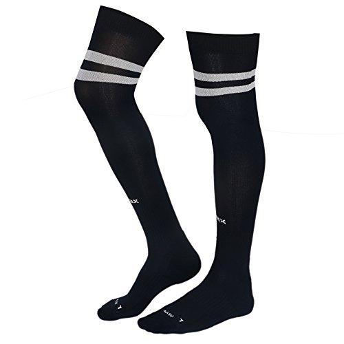 KD Willmax Sports Socks Football Stocking Dry Fast Trainer (Navy Blue, Small) Unisex Knee High Striped Sports Football/Soccer/Hockey Rugby Tube Socks for Men, Women, Boys & Girls