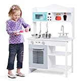 Costzon Kids Kitchen Playset, Cooking Pretend Play Toy Set with Sink, Stove, Oven, Storage Shelf and Accessories, Simulation Kitchen Cooking Set with Realistic Sound Experience for Toddler, Children