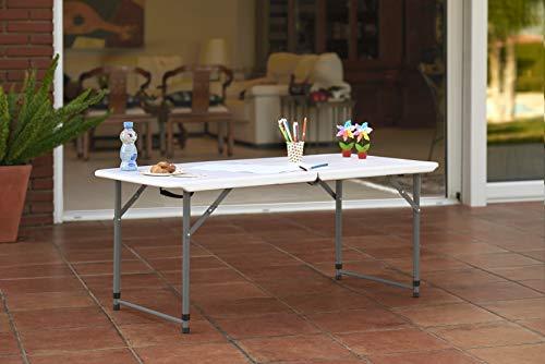 KitGarden Folding 122 - Mesa Plegable, color Blanco, 122x60x52/74 cm