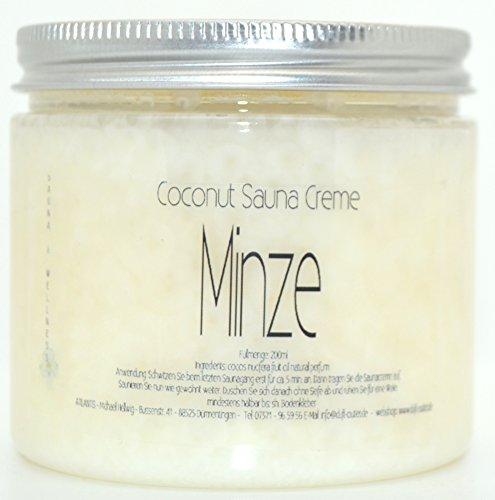 MINZE 200ml Coconut Sauna Creme-Saunacreme-Pflegecreme-Pflege Creme-Saunapflege-Kokosöl-Kokos Öl- Coconut Oil-Minzduft-Mentholduft