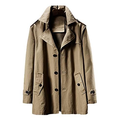 Męskie płaszcze Trench Coat Casual Peafact Regular Fit Kurtka zewnętrzna, Casual Windbreaker Single-Breasted Classic Jacket Business Wool Groch Płaszcz z średniej długości i pełnej podszewki