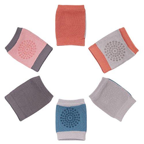 Camilife Camilife 3er Pack Baby Krabbeln Knieschoner Anti-Rutsch Baumwolle Gestrickt Junge Mädchen Knieschützer mit Gummipunkte für 3-36 Monate (Set A) Gepunktet