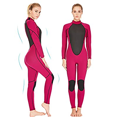 REALON Womens Wetsuit Full 2mm Neoprene Surfing Scuba Diving Snorkeling Swimming Suit (Pink 2mm, 2XL)