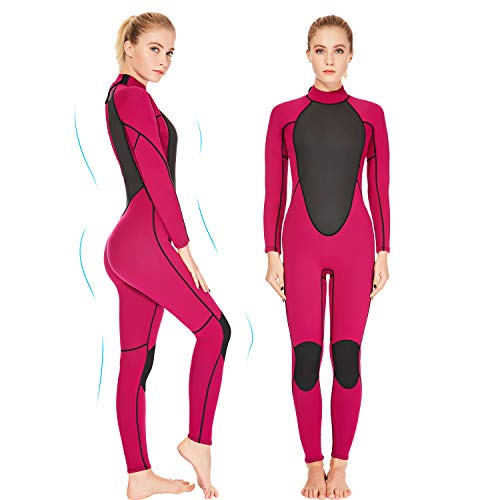 REALON Womens Wetsuit Full 2mm Neoprene Surfing Scuba Diving Snorkeling Swimming Suit (Pink 2mm, S)