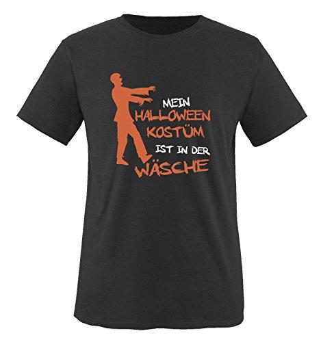 Mein Halloween KOSTÜM IST IN DER WÄSCHE Zombie - Kinder T-Shirt Schwarz/Weiss-Orange 110-116