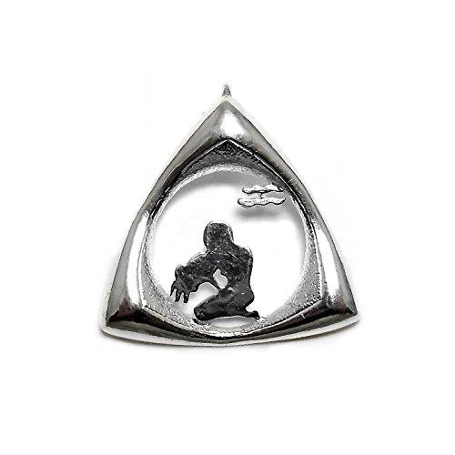 Law Horoskop 925m Silber Anhänger Dreiecks Aquarium 33mm. [AB4156]