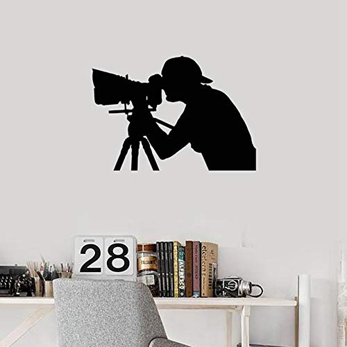 SLQUIET Fotograf Vinyl Wall Applique Silhouette Foto Salon Innenwandaufkleber Abnehmbare Kunstwand Fotografie Studio Familie Wandaufkleber 27 grau 30x43 cm