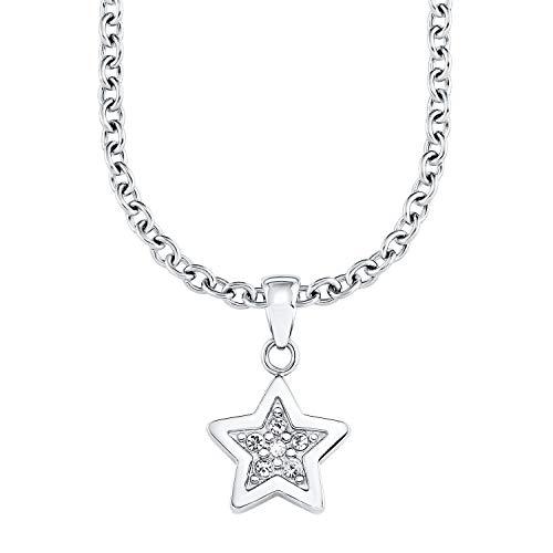s.Oliver Mädchen-Halskette mit Sternen-Anhänger aus hochwertigem Edelstahl  mit Kristallen in weiß, längenverstellbar (37+3 cm)