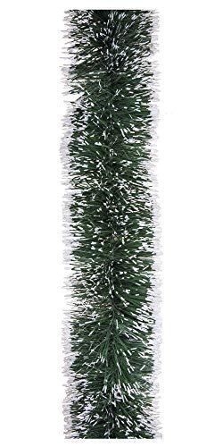 Riffelmacher 35425.0 Deko-Girlande Tannengirlande für Weihnachten oder Party, Länge 5 Meter, Grün-Weiß