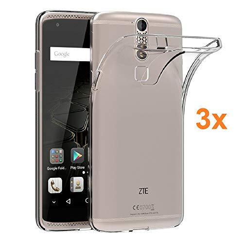 Pack 3X Case Flexible Silicone TPU for ZTE AXON 7 Mini, Ultra Thin 0.33mm, Crystal Clear