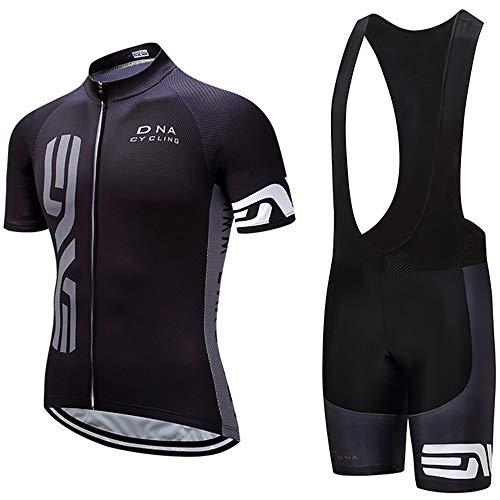 Tuta Bici Estivo Uomo Sportivo Corta Manica Maglietta+ Pantaloni Ciclismo Traspirazione,Cerniera Completa Abbigliamento Ciclista