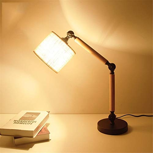 DKee tafellampen Eenvoudige creatieve tafellamp, retro massief hout en stoffen schaduw stijl ontspannen verlichting voor slaapkamer nachtkastje dimbaar bureaulamp, hedendaagse woonkamer, studie, babyk