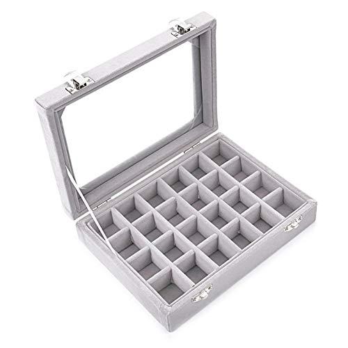 BAWAQAF Caja de joyería,Caja de joyería gris con 24 ranuras,Caja de almacenamiento de exhibición de la bandeja de los pendientes,Caja de joyería transparente