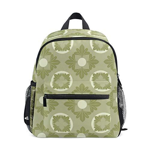 Kinder Fashion Schulrucksack grün portugiesischer Fliesen-Stil Kinder-hochwertiger lässiger Daypack Rucksack Leichter Segeltuch Rucksack für 3–8 Jahre alte Kleinkinder Kinder 25,4 x 10,2 x 30,5 cm