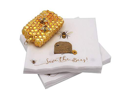 Unbekannt Geschenkset Geschenk Imker Weihnachten Servietten Bienenstock + Honigwabe Christbaumschmuck Lunchserviette Geschenkidee