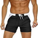 KEFITEVD Quick Dry Swim Briefs for Men Sexy Spa Trunks Beach Surf Shorts Elastic Waist Stretchy Short Board Pants, 32, Black