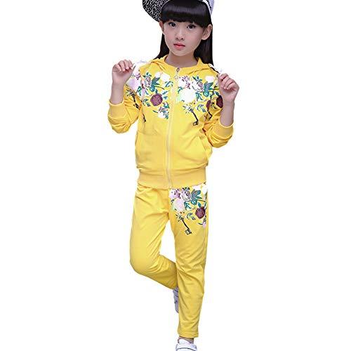 L PATTERN Kinder Mädchen 2tlg Bekleidungsset Zweiteiler Trainingsanzug Sportanzug Outfit-Set Jogginganzug Freizeitanzug(Jacke + Hose) mit Blumen-Muster,Gelb,140-146