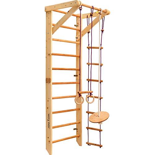 RINAGYM Kletterwand für Kinder - Indoor Klettergerüst aus Holz - Wand-Reck, Stange, Gymnastik-Ringe, Kletterseil, schwedische Leiter, Schaukel, Montagesatz.