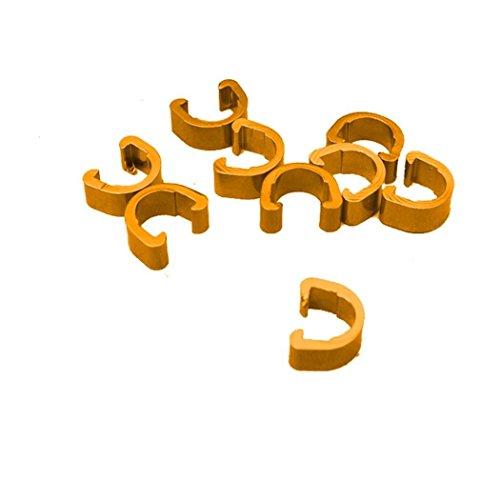 hunpta 10 piezas de bicicleta bicicleta MTB C-Clips hebilla manguera de freno cable guía (dorado)