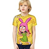 Boys Girls Sexy Bob's Bur-Gers Louise Bel-Cher T-Shirts Crew Neck, Anti-Fading Smooth Short Sleeve, Classic Short Tee for Exercise Lounging Vacation