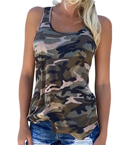 DELEY Mujer De Verano Suelto Militar Casual Estilo de Camuflaje sin Ejercicio Chaleco de Tanque Camiseta Blusa Tops Verde Talla M