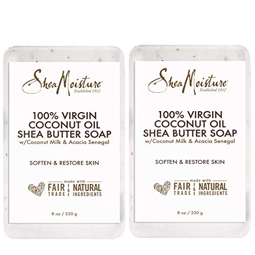Shea Moisture 100% Virgin Coconut Oil Shea Butter Soap, 8 Ounce (Pack of 2)