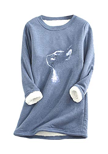 EFOFEI Jersey de felpa para mujer con forro de pelo de cordero, informal, de Navidad, monocolor, estampado, manga larga M azul M