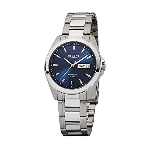 Regent Herren-Armbanduhr Silber Analog F-526 Edelstahl-Armband URF526 Analoguhr