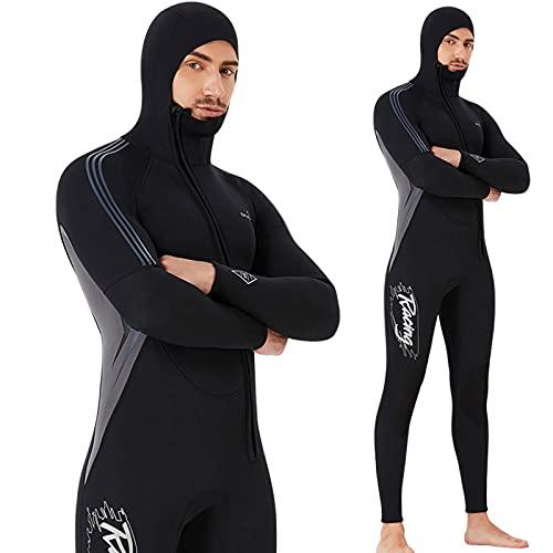 TSMALL Traje de Neopreno para Hombres, Traje de Buceo de Neopreno térmico de Manga Larga de 3 mm para Nadar, esnórquel, Surf, Kayak, piragüismo,XXL