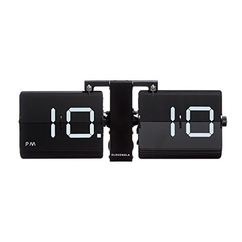 Cloudnola Flipping Out Wall and Tabletop Flip Clock, Battery Operated Digital Display (Black/Black)