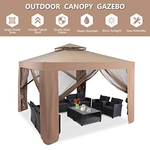 Coffee Tangkula 10'x 10' Canopy Gazebo Tent Shelter Art