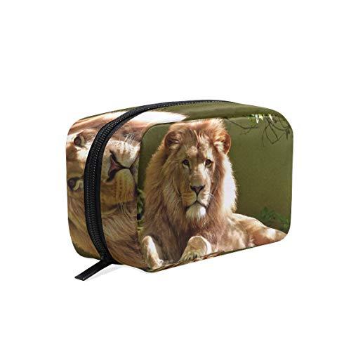 Trousse de maquillage avec sac à fermeture à glissière pour le sac d'embrayage Lion Animal Voyage sac de rangement carrée pour les femmes dame