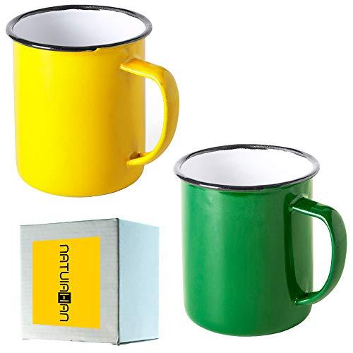 Natuiahan 2 Tassen aus Lackiertem Metall. Set mit 2 Tassen im Vintage-Design. Finish: Gelb und Grün.