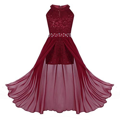 dPois Mädchen Kleid Festlich Hochzeit Kleid Blumenkinder Lang Chiffon Kleid Prinzessin Kleid Partykleid Festzug Abendkleid Cocktailkleid Gr.116-164 Rot 164/14 Jahre
